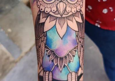 Tattoo hibou fait par Kevin