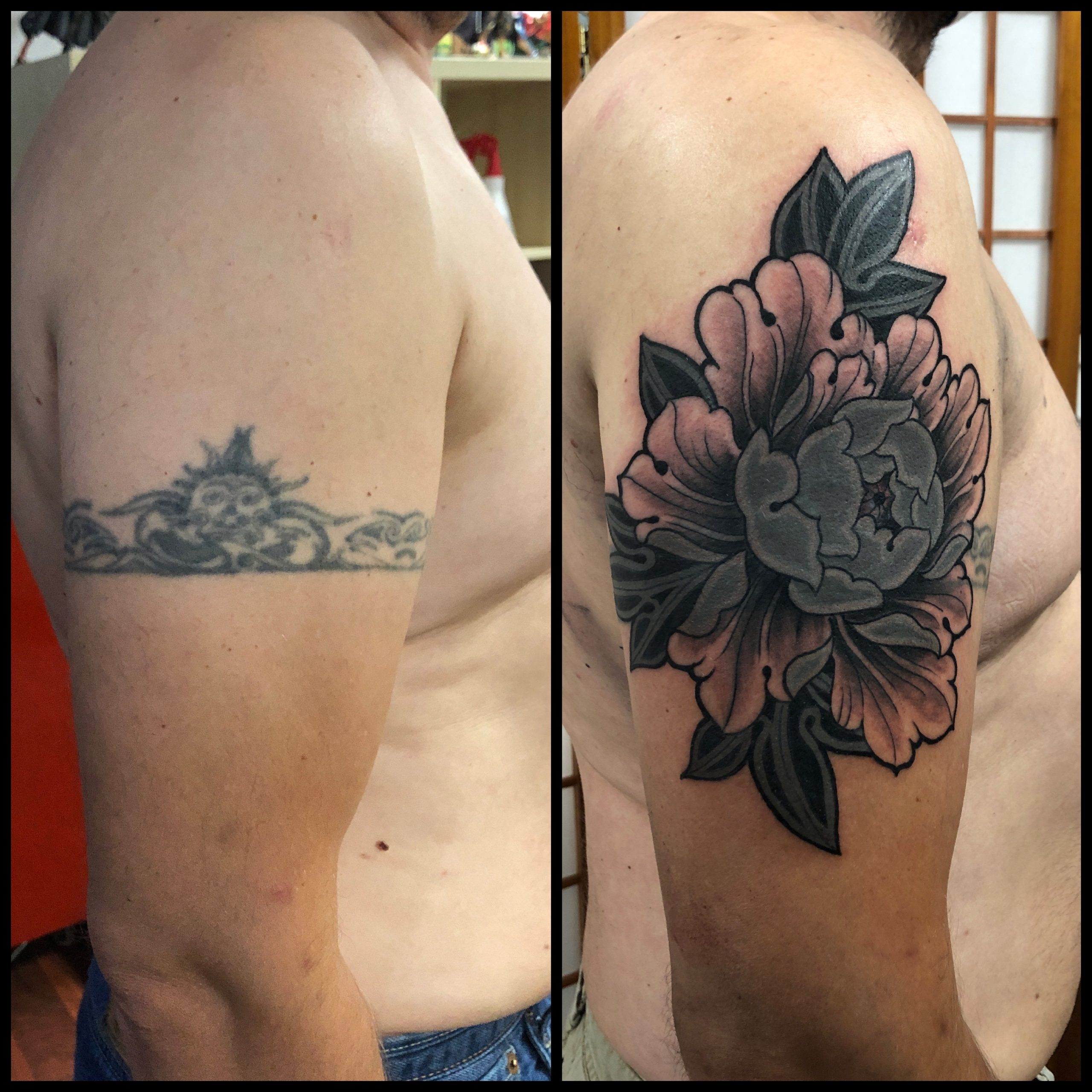 Tattoo Cover pivoine fait par Brice